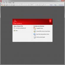 Adobe Reader X start screen